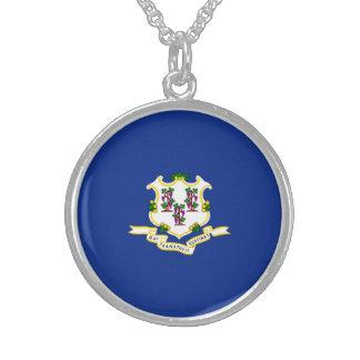 Diseño de la bandera del estado de Connecticut Collar De Plata Esterlina