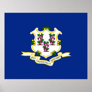 Diseño de la bandera del estado de Connecticut Póster