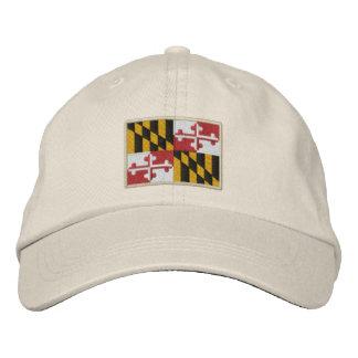 Diseño de la bandera del estado de Maryland Gorra Bordada