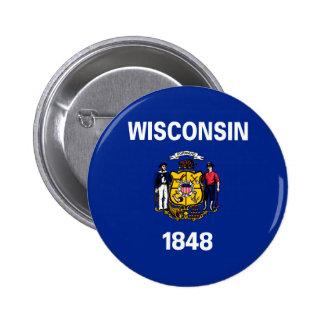 Diseño de la bandera del estado de Wisconsin Chapa Redonda 5 Cm