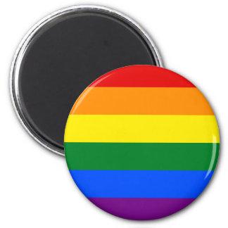 Diseño de la bandera del orgullo gay imán redondo 5 cm