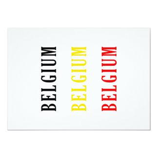 """Diseño de la bandera del texto de Bélgica Invitación 5"""" X 7"""""""