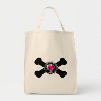 diseño de la bandera pirata del rosa del bottlecap bolsas