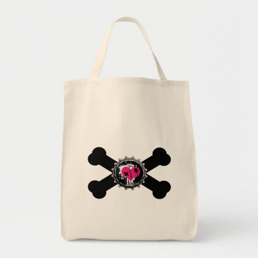 diseño de la bandera pirata del rosa del bottlecap bolsa tela para la compra