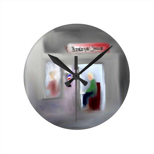 Diseño de la barbería reloj redondo mediano