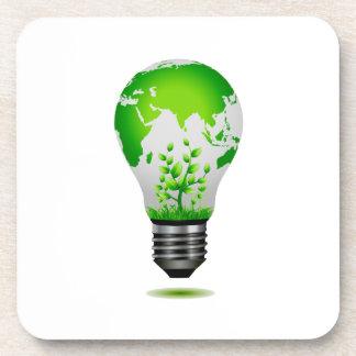 diseño de la bombilla con el globo y las plantas e portavasos