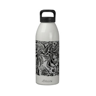 diseño de la cabeza de caballo con adorno floral botellas de beber