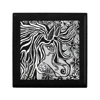 diseño de la cabeza de caballo con adorno floral caja de regalo