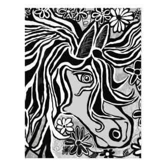 diseño de la cabeza de caballo con adorno floral membrete