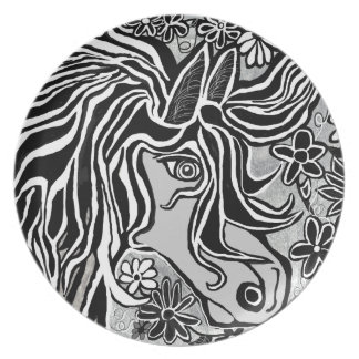 diseño de la cabeza de caballo con adorno floral platos