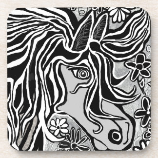 diseño de la cabeza de caballo con adorno floral posavaso