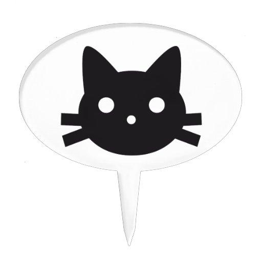 Diseño de la cabeza del gato negro decoraciones para tartas