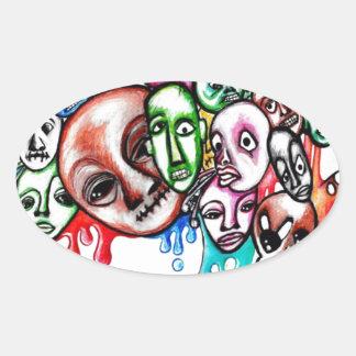 Diseño de la cabeza del monstruo pegatina ovalada