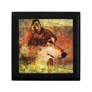 Diseño de la caja de regalo del lobo de madera del joyero cuadrado pequeño
