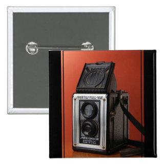 Diseño de la cámara del vintage pin cuadrada 5 cm