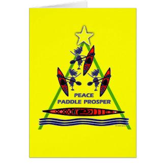 Diseño de la canoa del kajak de la paleta del día  felicitacion