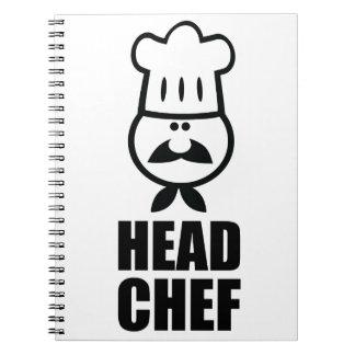 Diseño de la cara del chef y del negro del gorra cuadernos