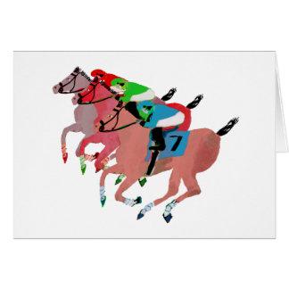 Diseño de la carrera de caballos del personalizar tarjeta de felicitación