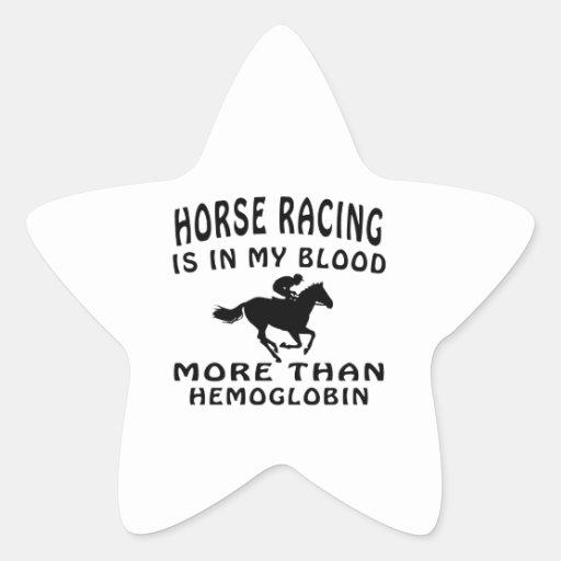 Diseño de la carrera de caballos calcomanias forma de estrella