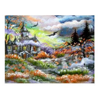 Diseño de la casa encantada postal