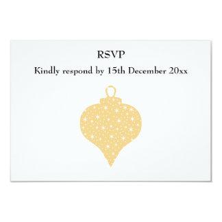 """Diseño de la chuchería del navidad del color oro invitación 3.5"""" x 5"""""""