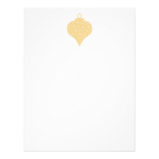 Diseño de la chuchería del navidad del color oro membrete personalizado