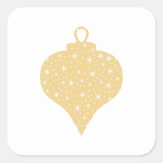 Diseño de la chuchería del navidad del color oro pegatina cuadrada