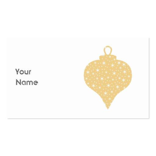 Diseño de la chuchería del navidad del color oro tarjetas de visita