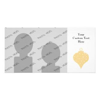 Diseño de la chuchería del navidad del color oro tarjeta fotográfica personalizada