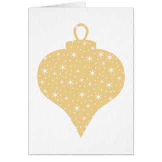 Diseño de la chuchería del navidad del color oro tarjeta de felicitación