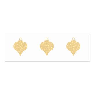 Diseño de la chuchería del navidad del color oro tarjetas de visita mini
