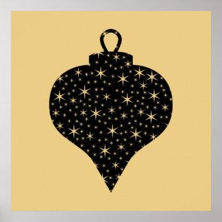 Diseño de la chuchería del navidad del negro y del poster