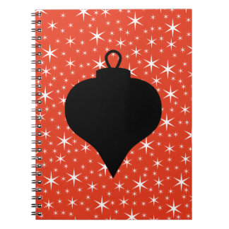 Diseño de la chuchería del navidad en negro rojo libretas espirales