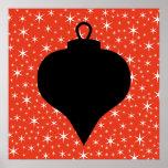 Diseño de la chuchería del navidad en negro, rojo  poster