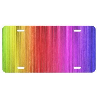 Diseño de la cortina del arco iris placa de matrícula