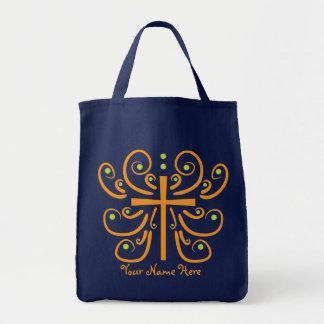 Diseño de la cruz de la diversión bolsa tela para la compra