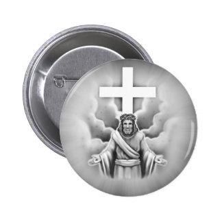 Diseño de la cruz de la resurrección del Jesucrist Pin Redondo 5 Cm
