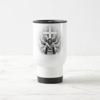 Diseño de la cruz de la resurrección del Jesucrist Taza De Viaje De Acero Inoxidable