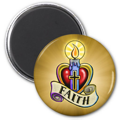 Diseño de la cruz del corazón de la vela de la fe imán de nevera