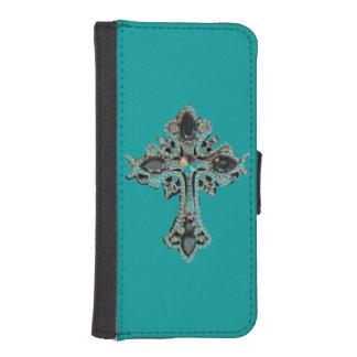 Diseño de la cruz del vintage de la fe funda billetera para teléfono
