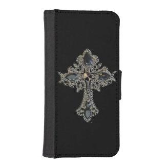 Diseño de la cruz del vintage de la fe funda tipo billetera para iPhone 5