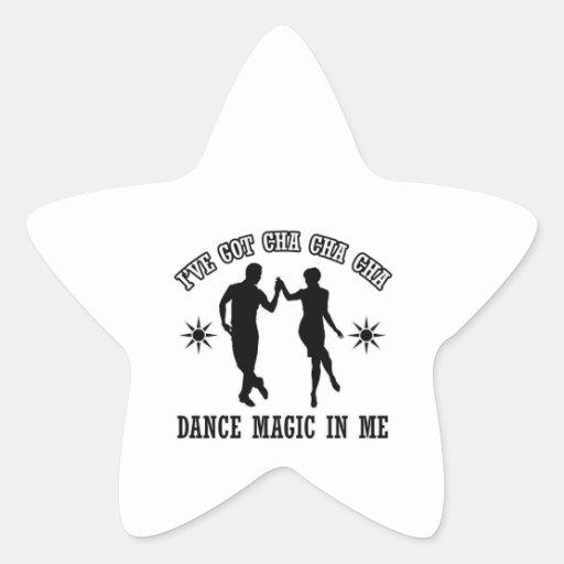 diseño de la danza del cha del cha del cha pegatinas forma de estrella personalizadas