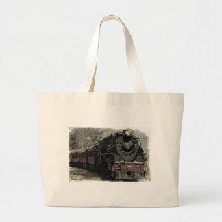 Diseño de la decoración del tren del vintage bolsa de tela grande