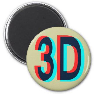 diseño de la dimensión 3D tres Imán Redondo 5 Cm
