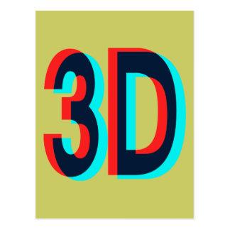 diseño de la dimensión 3D tres Postal