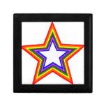 Diseño de la estrella del arco iris cajas de recuerdo