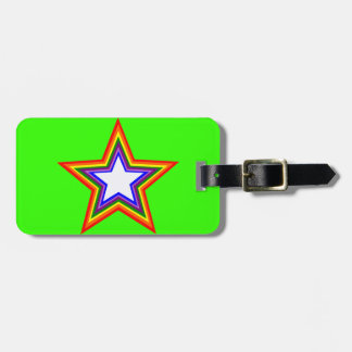 Diseño de la estrella del arco iris etiqueta para equipaje