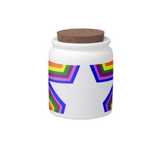 Diseño de la estrella del arco iris jarras para caramelos