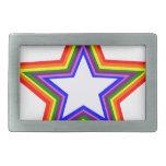 Diseño de la estrella del arco iris hebilla de cinturon rectangular