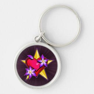 Diseño de la estrella del corazón llaveros personalizados
